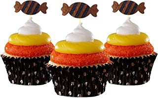 Candy cup cake topper Halloween Cupcake Topper 12 pieces per Pack Decoration Cake glitter Card Stock