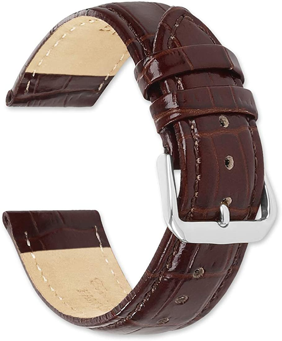 Crocodile Grain Leather Watch Band - Color Albuquerque Mall Choice 25% OFF B of Black