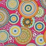 SCHÖNER LEBEN. Dekostoff Canvas Ottoman Mandalas pink