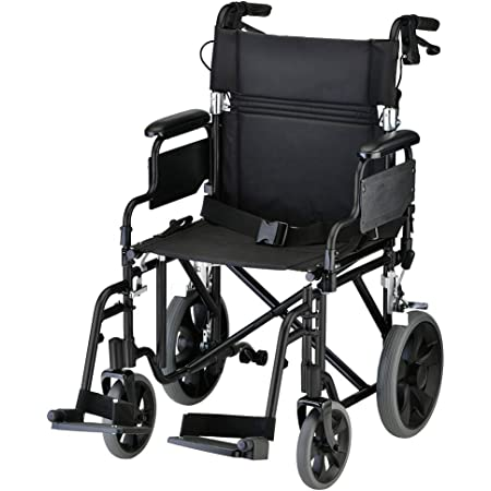 """NOVA Lightweight Transport Chair with Locking Hand Brakes, 12"""" Rear Wheels, Removable & Flip Up Arms for Easy Transfer, Anti-Tippers Included, Black"""