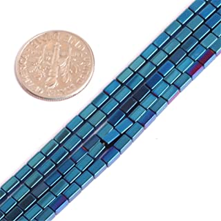 2x4mm Hematite Beads for Jewelry Making Gemstone Semi Precious Cube Blue Metallic Coated 15