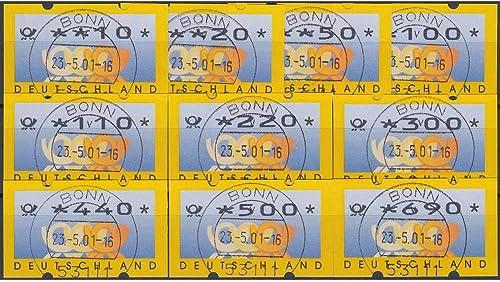 Goldhahn BRD Bund ATM 3.3 VS1 gestempelt 10 20 50 100 110 220 300 440  500 690  Posthorn+Wertziffern mager Briefmarken für Sammler