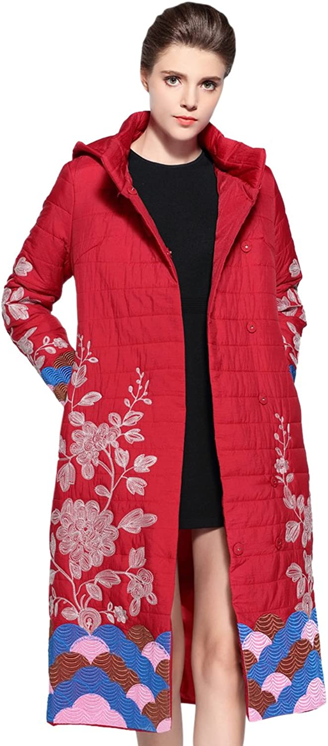 Tortor 1bacha Women Lady Plant Embroidered Hooded Long Winter Puffer Coat