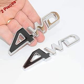 SAISDON- 4Wd Chrome Black Metal Chrome Badge Emblem 3D Car Trunk Side Auto Logo Fender Adhesive Replacement Decal Sticker Truck Jeep Van Sports Car [2 Pieces][5247BK]