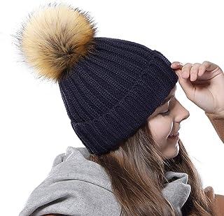 de98a111a51aa FURTALK Womens Knit Winter Beanie Hat Faux Fur Pom Pom Bobble Hat Beanie for  Girls
