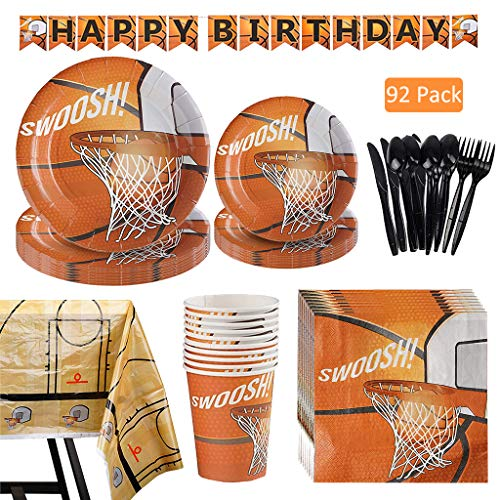 Amycute Basketball Theme Party Geschirr Set mit Banner Becher Teller Servietten Geschirr-Set für Jungen Sport Thema Geburtstag, Jungen World Sports Game Celebration Dekor.