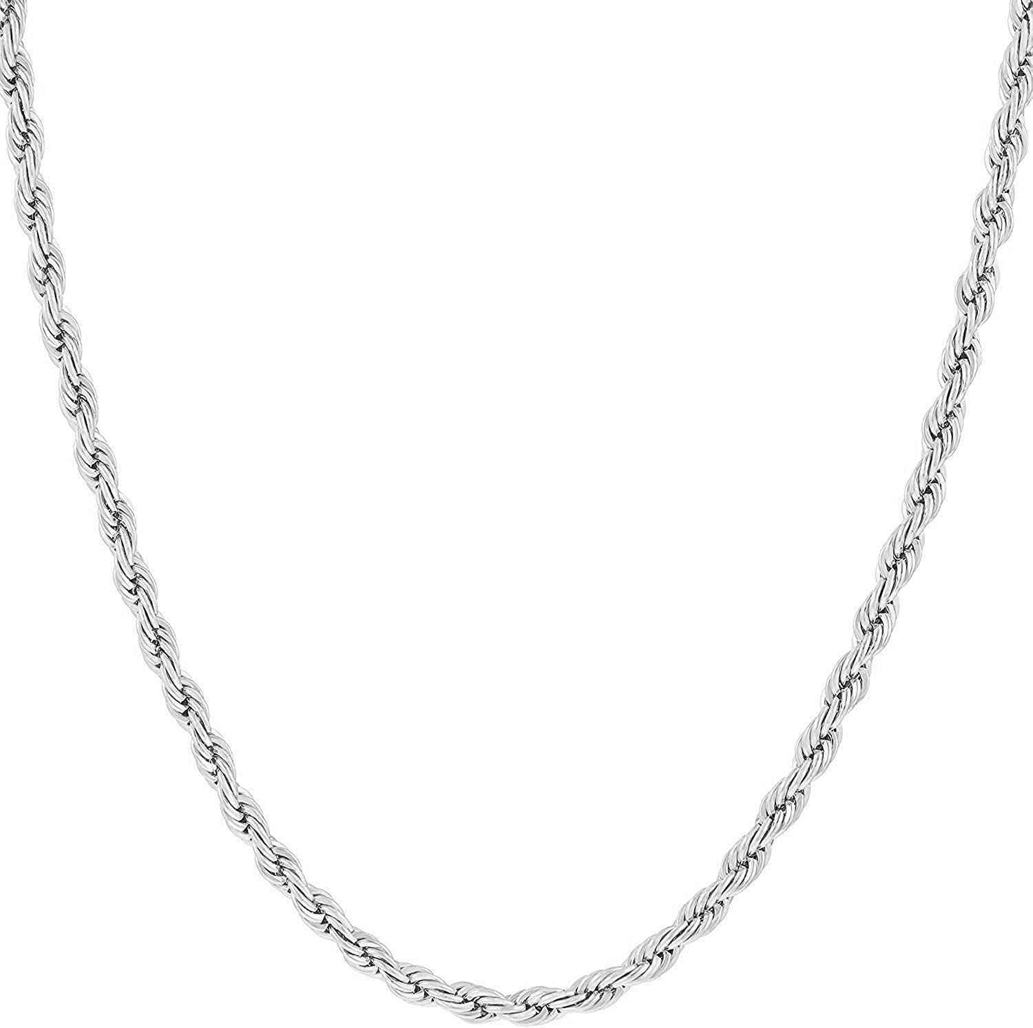 MCS Jewelry 14K White Gold 2mm Light Rope Chain necklace, Length: 16