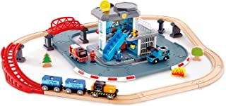 Hape Emergency Services HQ | 2-in-1 Police and Fire Station Complete Play Set with Vehicles and Action Figures Multicolor,...