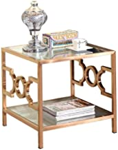 Sofa Side Table End Tables Square Simple Small Side Table, Stainless Steel Living Room Couch Reading Table, Tempered Glass...