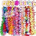 Hawaiian Luau Party Supplies-Hawaiian Leis(36Ct) with (16pcs)Hawaiian Flower Hair Clips, Perfect for Your Hawaii Luaus from CWLAKON