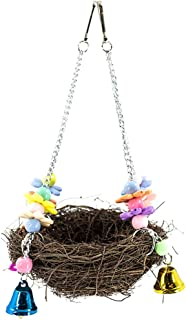 YINGGE Bird Rattan Nest Toy with Bells, Parrot Chewing Climbing Hanging Swing for Parakeets, Cockatiels, Lovebirds, Finches, Sun Conures, Caique, Cockatoo, African Grey