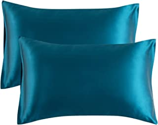 Bedsure Satin Pillowcase for Hair and Skin, 2-Pack - Standard Size (20x26 inches) Pillow Cases - Satin Pillow Covers with Envelope Closure, Teal