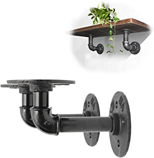 king do way 2Pcs Industrial Black Iron Pipe Bracket Wall Mounted Floating Shelf Hanging Wall Hardware Decor for Farmhouse Shelving Hardware Heavy Duty