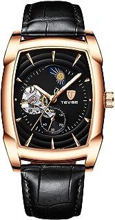 ساعة يد رجالي ميكانيكية ميكانيكية للرجال من Andoer T802D طراز كاجوال بحزام جلدي للرجال