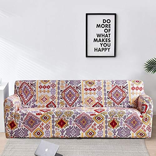 Funda de sofá elástica Fundas de Estilo Bohemio Fundas de sofá a Cuadros para Sala de Estar Funda sofá Funda de Silla de sofá en Forma de L A13 4 plazas