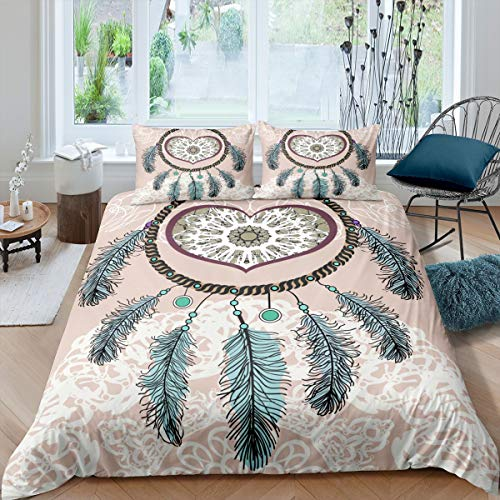 Dreamcatcher Duvet Cover Boho Dream Catcher Decor Comforter Cover Indian Native American Bedding Set for Kids Adults Luxury Tribal Elements Bedspread Cover Ultra Soft Room Decor Full Size Bedclothes
