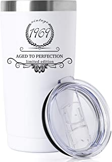 1969 50th Birthday Gifts for Women and Men Tumbler, Party 50th birthday decorations, Best Anniversary Presents Ideas Him Her Husband Wife Mom Dad, 20oz Stainless Steel Tumbler (White, 1969)