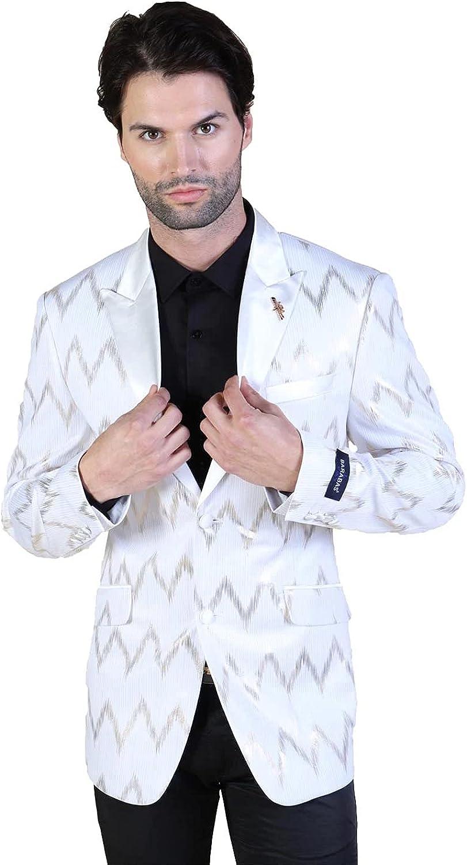 Store Barabas Men's Zig Zag Design 17802 Blazer ! Super beauty product restock quality top! Shiny White