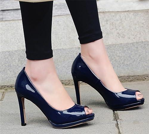 AISHUAIGE High-Heeled Schuhe Fisch Mund Mund Mund Schuhe wasserdichte Plattform Lackleder Schuhe Damenschuhe Größe Größe Sandalen 33-42  erschwinglich
