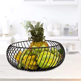 Fruit Bowls, Wrought Iron Round Fruit Basket Metal Fruit Basket, Iron Storage Basket Tray, fruit bowl anti rust, for Snack Fruit, Bread, Candy, Other Household Items