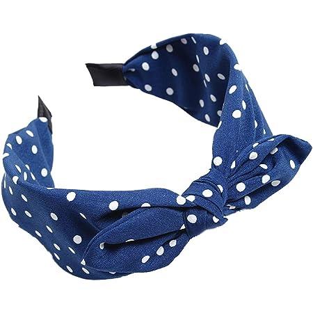 Bodhi2000 - Cerchietto per capelli con fiocco e motivo a pois, per donne e ragazze blu Blue