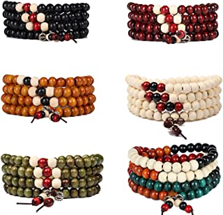 FXBELAD Wood Mala Beads Bracelet Prayer Beads Meditation Bracelets 108 Link Wrist Necklace Chain for Men Women 6pcs