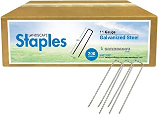 Sandbaggy 6 Inch Galvanized Landscape Staples - SOD Garden Stakes Pins ~ Trusted by Farmers & Contractors Across The USA (...