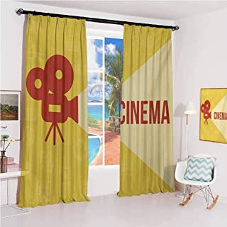 Movie Theater Pleated curtains with blackout and lining Projector Silhouette with Cinema Quote Movie Symbols Background Used for Living room bedroom with sliding door patio door W52 x L63 Inch Dark C