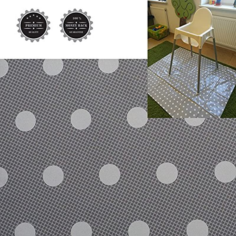 Baby Splat Mat High Chair Floor Mat Plastic Grey With White Dots Waterproof Large Stylish Size 51 X 44