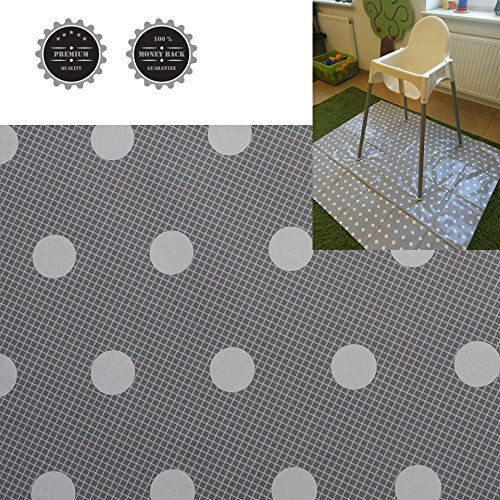 Baby Splat Mat High Chair Floor Mat Plastic Grey with White Dots Waterproof Large Stylish (Size 51'x 44')