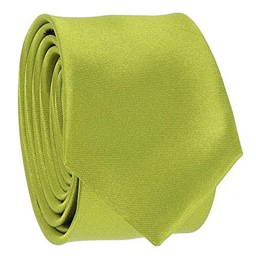 Cravate Fine Vert citron - Cravate Homme Coupe Slim Moderne - 5cm à la Pointe - Couleur Unie - Accessoire Chemise pour Mariage, Cérémonie