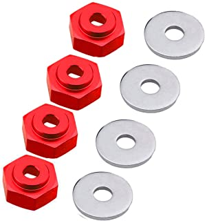 ZYCST 4PCS Aluminum Alloy 12mm Turn 17mm Metal Wheel Rim Hex Adapter Drive Hub for Traxxas Axial RC4WD HPI Himoto HSP Losi Kyosho RC 1/10 On-Road Car Buggy Truck Tires