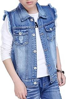 Unisex Kids' Sleeveless Denim Vest Cute Kids' Gilet for 2-12