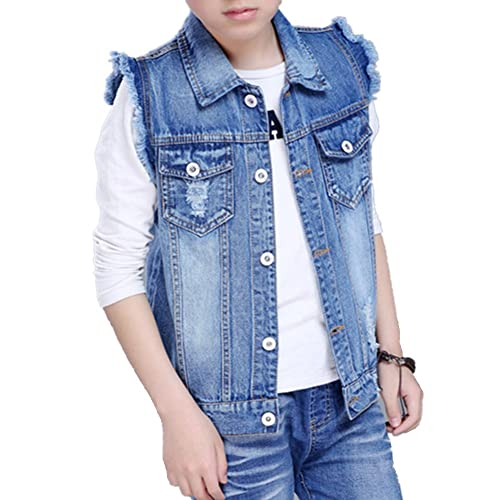 b6c778699c013 Oushiny Unisex Kids  Sleeveless Denim Vest Cute Kids  Gilet ...