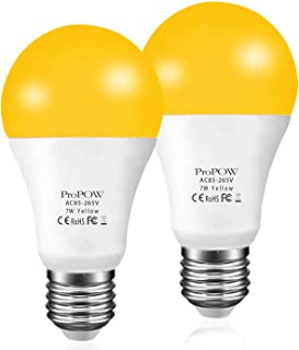 Amber Yellow LED Bug Light Bulb,ProPOW 7W Dusk to Dawn Bug Bulbs 40W Equivalent A19 Auto on/off LED Bulbs Outdoor Bug Lights 580 Lumens Porch Lights(Non-Dimmable,E26,2200K,2 Pack)