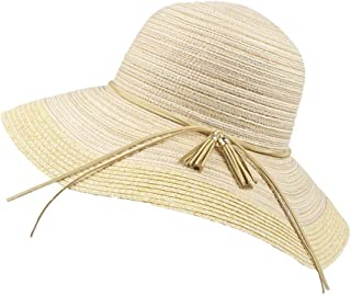 SHYPwM-Hats Sun Hats Ladies Wide Brim Foldable Beach Hat UV Protection Straw Cowboy Hat Adjustable Summer Floppy Straw Straw Sun Hats (Color : Beige, Size : 55-58cm)