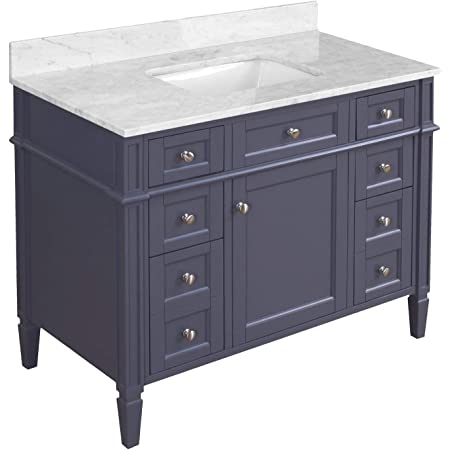 Amazon Com Urbanfurnishing Net Silvia 42 Inch 42 Bathroom Sink Vanity Set With White Italian Carrara Marble Top Distressed Gray Home Kitchen