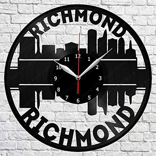 Samorou Richmond Skyline Vinyl Schallplatte Wanduhr Küche Dekorative Wanduhr 12 Zoll 30Cm
