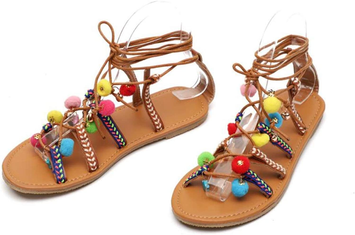 Hoxekle Woman's Bohoia Flats colorful Pom-Pom Sandals Strappy Ankle Lace Up Open Toe Summer Beach Casual shoes