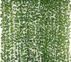 Material: Silk Fabric & Plastic. Leaves were made from silk and the stems were made from plastic. Each strand is approx 6.6 feet long (2 meters), 72 pairs of leaves. Each leave : 1.57 x 1.38 Inches (Pack of 12) Each order contains 12 packages of 1 ga...