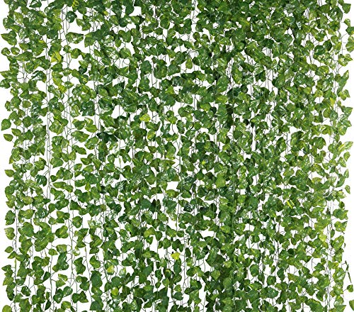 Yatim 78-Ft 12 Pack Silk Artificial Ivy Vines Leaf Garland Plants Hanging Wedding Garland Fake Foliage Flowers Home Kitchen Garden Office Wedding Wall Decor