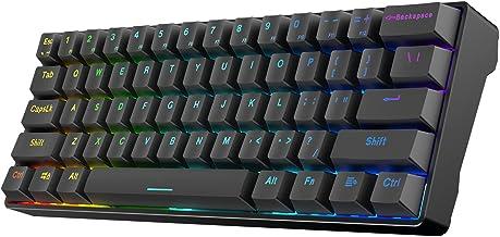 SOLAKAKA 60% Bluetooth Mechanical Keyboard Rechargeable, with RGB Rainbow Backlit, Hot Swappable 61-Keys Ergonomic USB Wir...