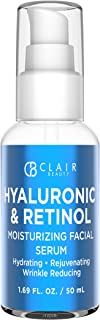 CLAIR BEAUTY Hyaluronic Acid & Retinol Moisturizing Facial Serum - Hydrating, Smoothing & Lifting | Reduces Appearance of ...