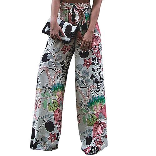 2a33c1c03a4 LOSRLY Women Floral Print High Waist Belt Palazzo Wide Leg Boho Pants Plus  Size