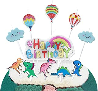 pinkblume Dinosaur Happy Birthday Candles Cute Jungle Animals Cloud Hot Air Ballons Rainbow Happy Birthday Letters Cake Topper Candles for Kids Birthday Party Decorations.