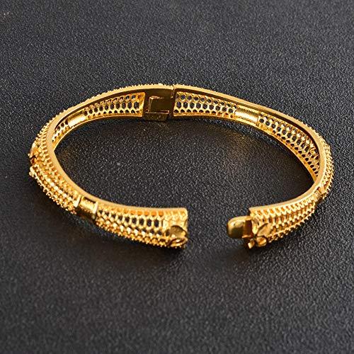 NCDFH Puede Abrir brazaletes de Oro de Dubai, joyería para Mujeres, brazaletes de Boda Nupciales africanos, joyería de Color Dorado de 24 Quilates, Adornos árabes, 59mm 61mm