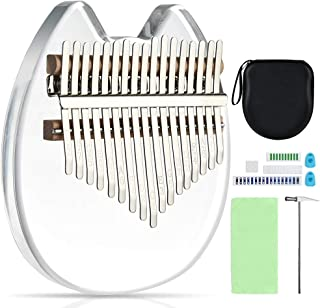 17 Keys Kalimba Clear Thumb Piano Magic Acrylic Mbira Finger Piano with Study Instruction & Tune Hammer & Protective Box, Musical Instrument Gifts for Beginners Kids Adult Professional (Normal)