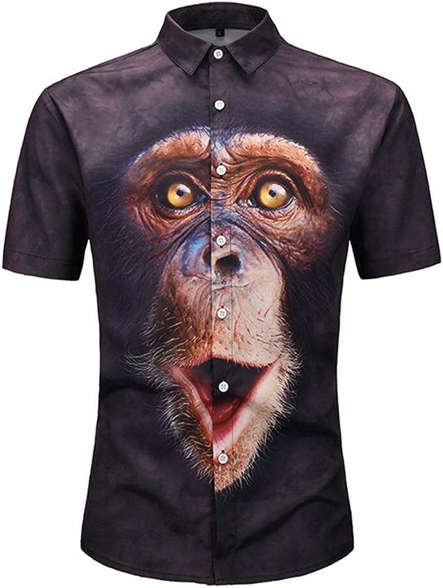 Men's Shirt Casual Fashion Classic 3D Gorilla Print Short Sleeve Casual Street Shirt Fat Lapel Shirt Shirt