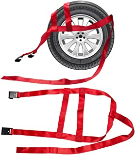 B4B BANG 4 BUCK 2 Packs 15 to 20 Inch Rim Universal Adjustable Tie Down Tow Straps for Demco Kar Kaddy Dollys with 2 Flat Hooks 6600 lb Breaking Strain