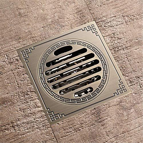 JDK Bodenablauf mit Abdeckung Badezimmer Dusche Bodenablauf antiken Messing Ablaufsieb Abdeckrost quadratischen Dusche-Abfluss Zubehör ablassen Stoppers